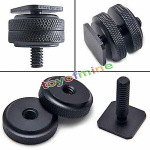 1/4 Inch Dual Nuts Tripod Mount Screw to Flash Camera Hot Shoe Adapter