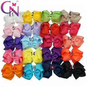 "Girls 6"" Large Hair Bows Clips Grosgrain Ribbon"
