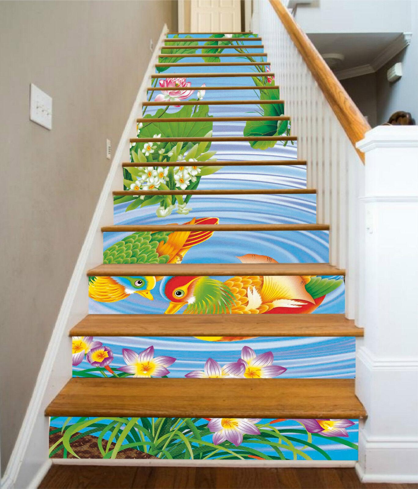 3D Mandarin Ente 39 Stair Risers Dekoration Fototapete Vinyl Aufkleber Tapete DE