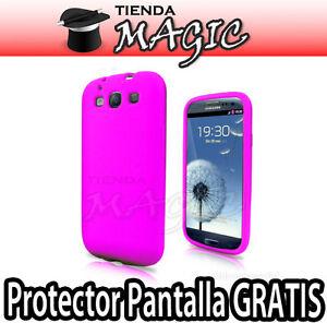 Funda Carcasa silicona + Protector Pantalla  compatible galaxy S3 i9300  FUCSIA