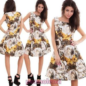 Vestito-donna-miniabito-svasato-ruota-fiori-zip-scollo-quadrato-nuovo-M111270