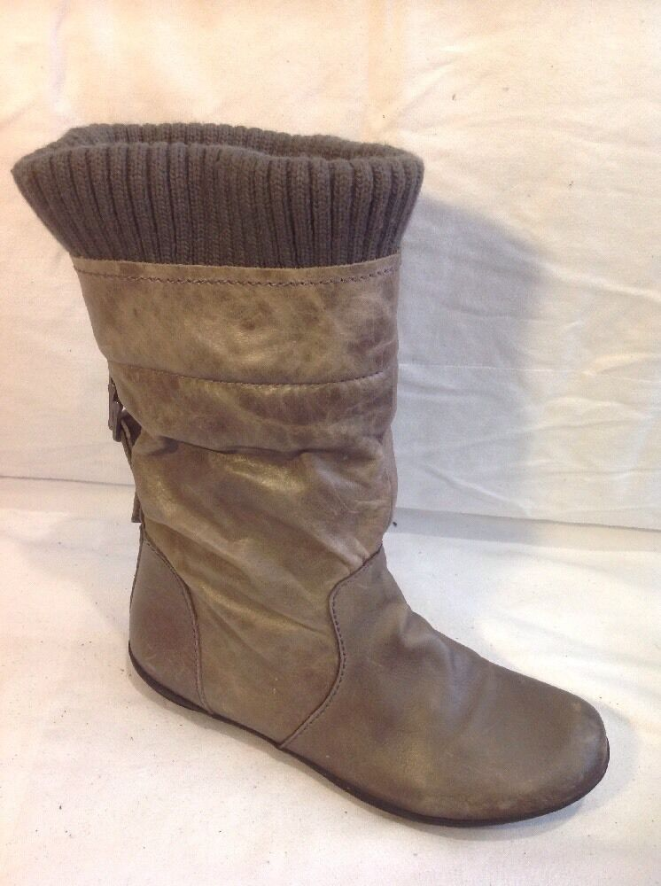 Next Brown Mid Calf Leather Boots Size 4