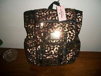Juicy Couture Leopard Metallic Gold And Black Backpack Retail