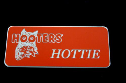 Hottie Hooters Girl Uniform Name Tag Pin Badge Holiday Costume lingerie extra