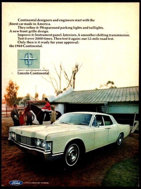 1968 Lincoln Continental White 4 Door Car Ad Ebay