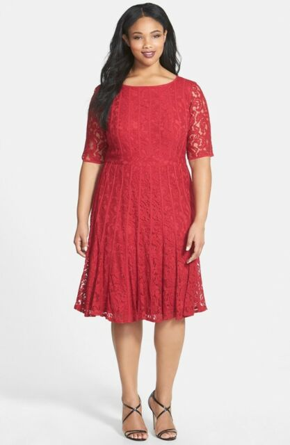 Adrianna Papell Lace Fit Flare Dress Plus Size Black Red 18w Ebay