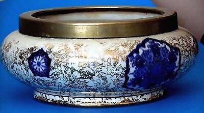 "Bowls Objective Fenton~james Kent Ltd~england ""osaka Pattern"" 8"" Bowl With Silver Plate Rim Euc Ceramics & Porcelain"