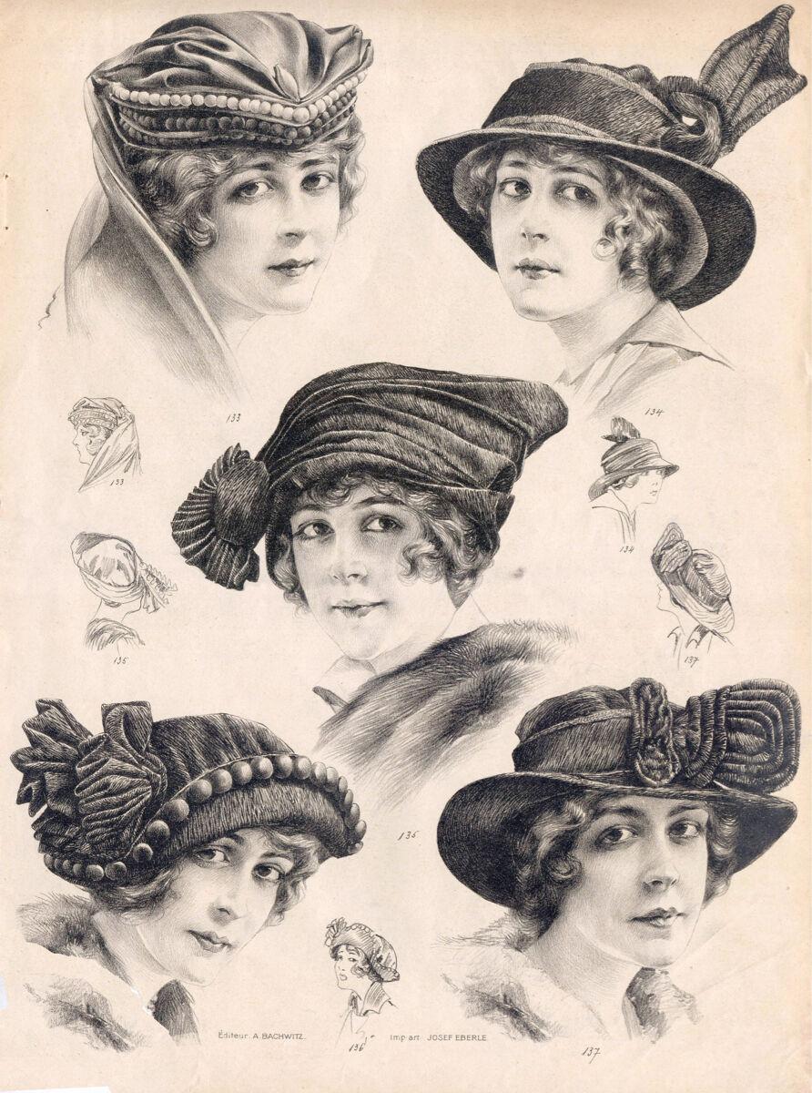 16x20  CANVAS Decor.Room design art print..Nouveau French fashion hats.6163