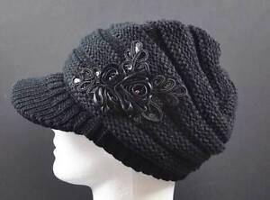 7095d6f1beb C.C Exclusives Knit Black Hat Cap Flower Ribbon Sequin Piping Brim ...