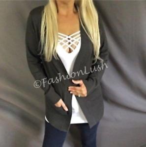 $128 Karen Kane 4L89636 Gray-Multi Cable Knit Cozy Cardigan Sweater w//Pockets