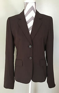J-Crew-Womens-Brown-Wool-Blend-Career-2-Button-Suit-Blazer-Jacket-Coat-Size-M