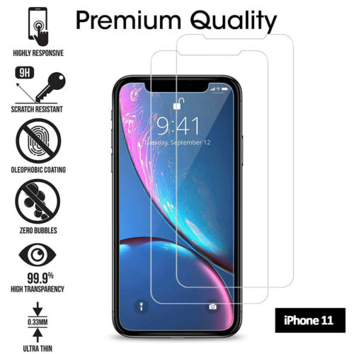 For Apple iPhone 11 -Tempered Glass Film Screen Protector Cover 【 2 Pack】