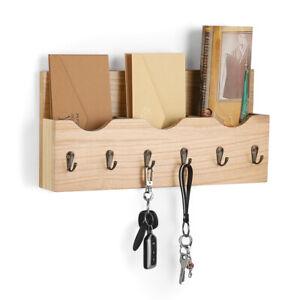 Key-amp-Mail-Holder-Rack-Letter-Organizer-Wood-Wall-Hook-Mount-Entryway-Hook-Storage