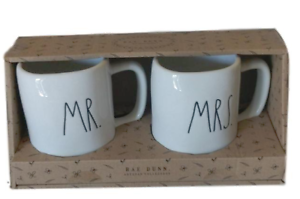Rae-Dunn-Mr-amp-Mrs-set-of-2-Mug-Cups-Gift-Box-Set-Coffee-Tea-Wedding-NEW