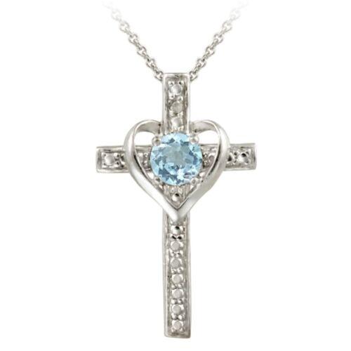 """18/"""" Argent 925 Topaze bleue et diamants Accent croix pendentif en forme de cœur"""