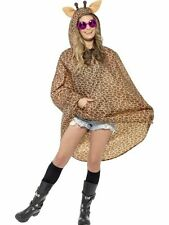 Ladies Teens Giraffe Poncho Showerproof Festival Concert Hen Party Costume Fun