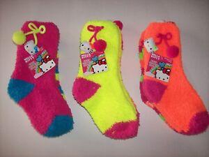 e6b1ada11 Hello Kitty Socks Girls Hosiery Cozy Slipper Warm Fuzzy 2pr Szs 5 ...