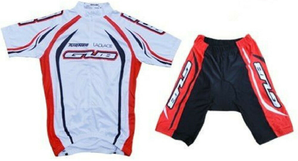 GUB Cycling Jersey and Short Set 1 2 Zipper, Lycra, Spandex Orange Weiß 4XL