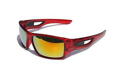 Clear red frame Orange Fire mirror lens Sports Sunglasses Shielded Wrap CPS21