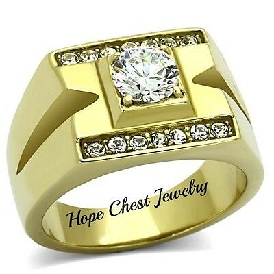 MEN'S GOLD TONE STAINLESS STEEL 1 CARAT CUBIC ZIRCONIA WEDDING RING SIZE 9, 10