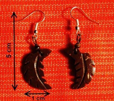 """Bijoux Ethniques Boucles d/'oreilles en noix de coco /""""Ovale/"""""""