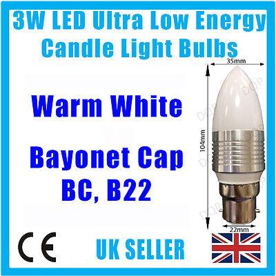3W LED Ultra Low Energy, Warm White, Candle Light Bulbs, B22, E27 or E14 Lamps