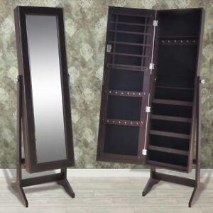 Brown Mirrored Jewelry Cabinet Armoire Mirror Organizer Storage Box