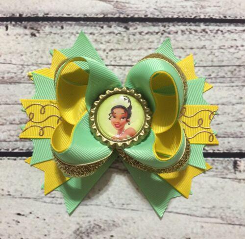 "4.5""Handmade Princess Tiana Stacked Boutique Hair Bow"