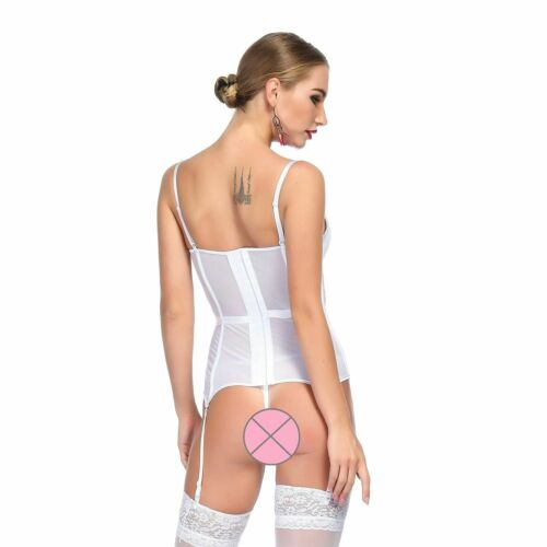 Ladies Transparent Corsets With Cups And Lingerie Set Slim Waist Lace Decoration