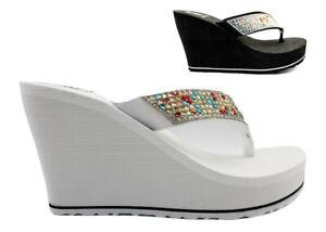 Sandali scarpe da donna con zeppa Laura Biagiotti 6253 infradito casual mare