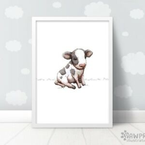 Cow Nursery Wall Art Print