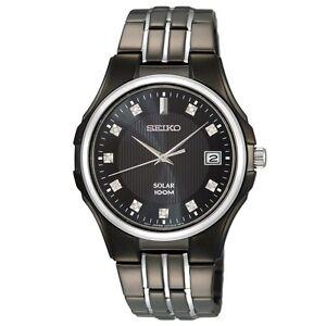 Seiko SNE153 SNE153P1 Mens Diamond Solar Watch WR100m NEW RRP $895.00