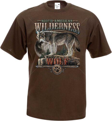 T Shirt in Schokoton mit einem Tier-//Naturmotiv Modell Wilderness Wolf