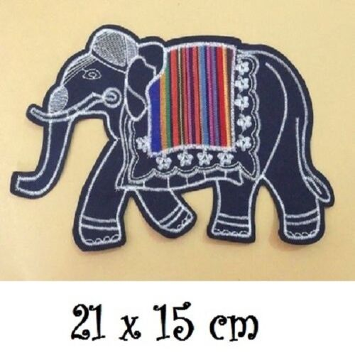 APPLIQUE Écusson Patch à Coudre ** 21 x 15 cm ** GRAND ÉLÉPHANT NOIR PATCHWORK