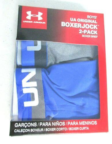 Blue 7002-41 Under Armour Boys/' 2 Pk Performance Boxer Briefs Gray