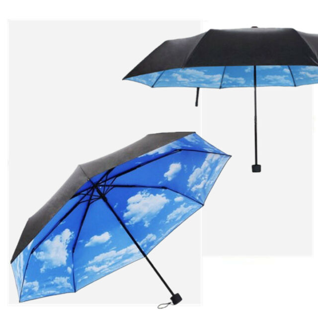 Super Anti-uv Sun Protection Umbrella Blue Sky 3 Folding Parasols Rain Umbrellas