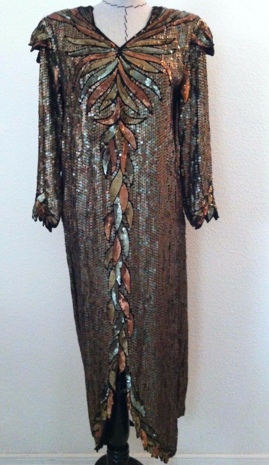 Vintage 80s Stunning dress long evening gown fully gold copper sequin size S M