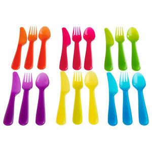Ikea-Kalas-enfants-039-s-Kids-Couverts-en-Plastique-Ensemble-18-pieces-x6-fourchettes-couteaux