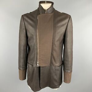 EMPORIO-ARMANI-Size-L-Brown-Solid-Leather-Asymmetrical-Coat