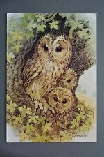 R&L Postcard: Tawny Owl and Young, Ann Kearns, Medici 1979, Posted 1988