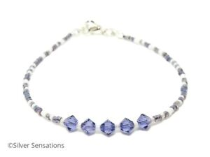 Tanzanite-Purple-amp-White-Seed-Bead-Bracelet-Anklet-With-Swarovski-Crystals