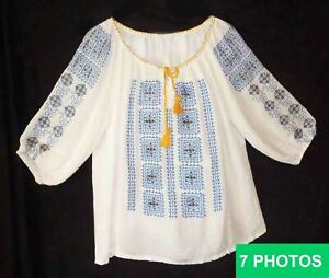 """Romanian Folk Peasant Blouse Gauze Embroidered Blue Yellow size 52"""" around chest"""