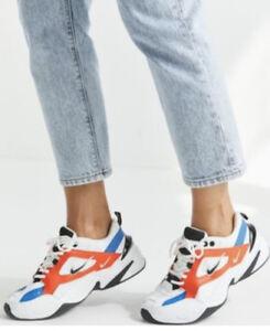 Image is loading Nike-M2K-Tekno-White-Black-Orange-women-034-
