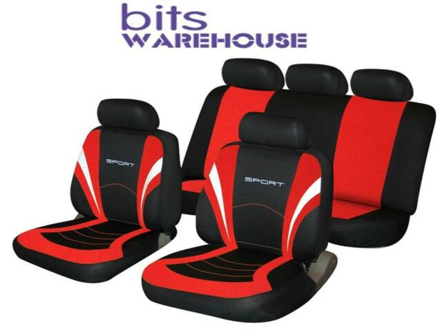 Seat Ibiza SPORTS Fabric Car Seat Covers Full Set in BLACK & RED
