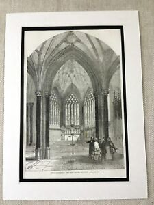 1856 Stampa Wells Cathedral Lady Cappella Chiesa Architettura Originale Antico