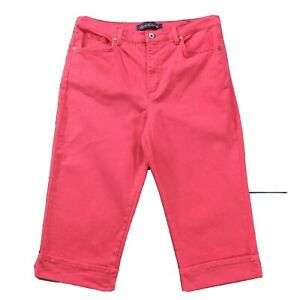 Gloria-Vanderbilt-Womens-Jeans-size-14-Pink-Capris-Cropped-Cuffed-Cotton-Stretch