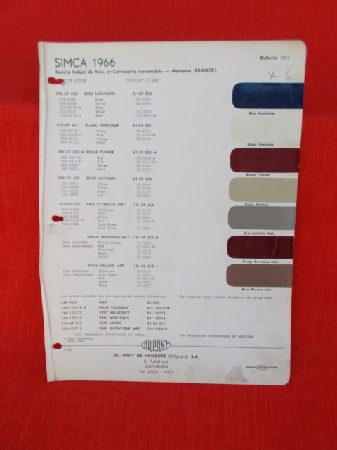 1966 Simca French Moparint Chip Color Chart Vintage Old European