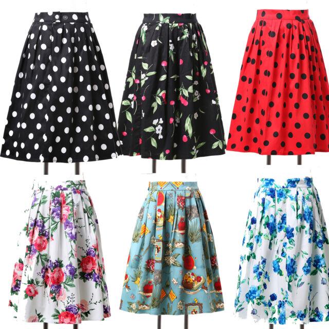 Hepburn❤40s 50s Vintage Retro A-Line Short Pinup High Waist Tea Skirt