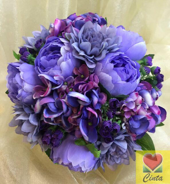 Artificial Silk Flower Purple/Purple Grey Peony/Dahlia/Flowers Wedding Bouquet