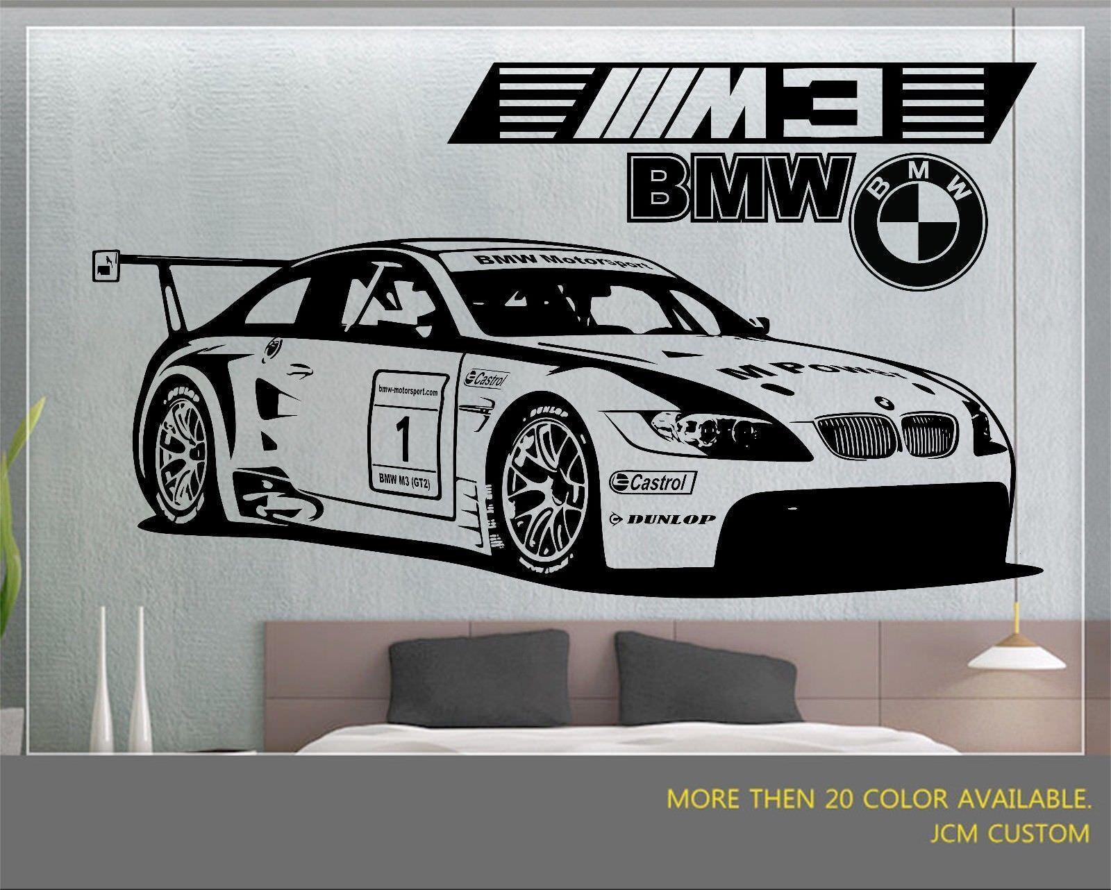 BMW M3 GT2 M-Power Racing Sport Car Desmontable De Parojo Vinilo Calcomanía Adhesivo 58  X 22